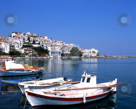 The port of Skopelos stock photo, Fishing boats in the port os Skopelos a Greek island by Paul Phillips