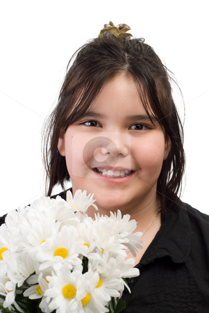 Girl Daisies stock photo, A young girl's portrait with silk daisies next to her face, isolated against a white background by Richard Nelson