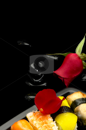 Sushi plate stock photo, Fresh assorted colorfull sushi plate over black by Francesco Perre