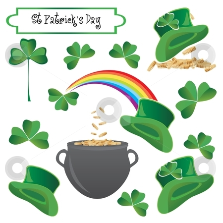 St Patrick holiday objects stock vector clipart, Saint Patricks holiday objects, vector illustration by Milsi Art