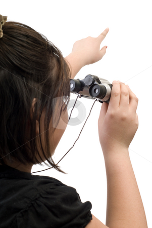 Sightseeing stock photo, A young girl pointing at something, isolated against a white background by Richard Nelson