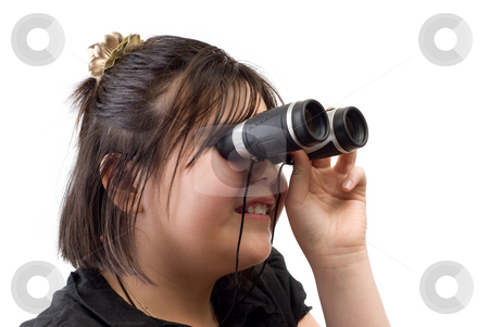 Girl Watching stock photo, Closeup of a girl looking through a set of binoculars, isolated against a white background by Richard Nelson