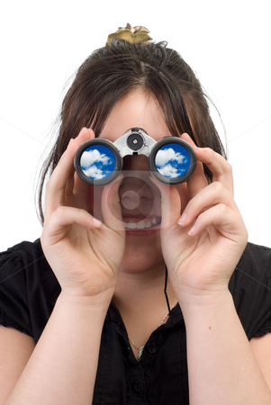 Cloud Watching stock photo, A young girl watching clouds with a set of binoculars, isolated against a white background by Richard Nelson