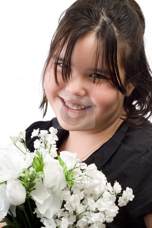 Child Portrait stock photo, 10 year old girl holding a bouquet of flowers, isolated against a white background by Richard Nelson