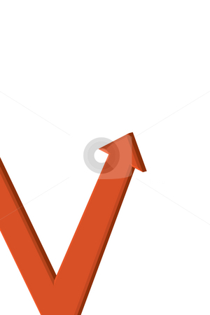 3D red arrow stock photo, A 3d red arrow on an upward trend - isolated over white. by Todd Arena