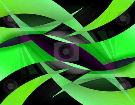 Abstract Swooshes stock photo, An abstract background illustration with lime green swooshes. by Todd Arena