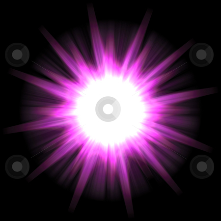 Solar Star Burst stock photo, A star burst or lens flare over a black background. by Todd Arena