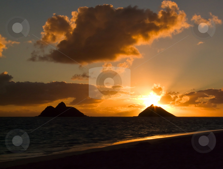 Sunrise Lanikai Beach stock photo, Tropical sunrise at Lanikai Beach, Oahu, Hawaii. by Peter Van veldhoven