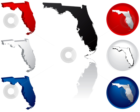State of Florida Icons stock vector clipart, Florida Icons by Adrian Sawvel