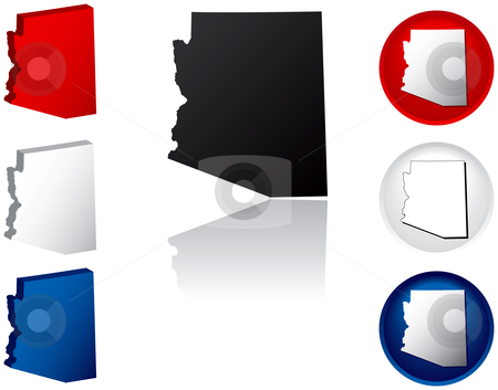 State of Arizona Icons stock vector clipart, Arizona Icons by Adrian Sawvel