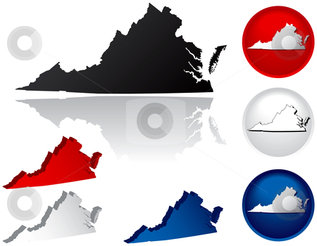 State of Virginia Icons stock vector clipart, Virginia Icons by Adrian Sawvel