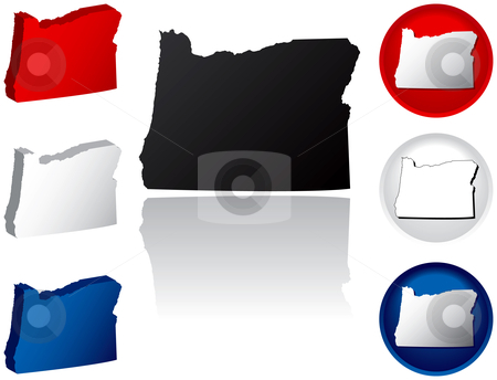 State of Oregon Icons stock vector clipart, Oregon Icons by Adrian Sawvel