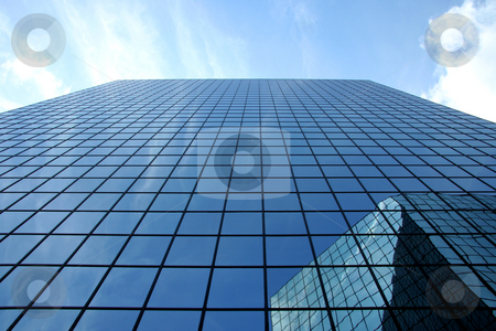 Modern Skyscraper stock photo, A upward perspective of two very modern skyscrapers by Kevin Tietz