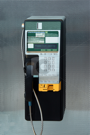 Payphone stock photo, A modern payphone on a silver background by Kevin Tietz