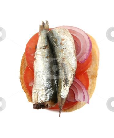 Tomato Sardine And Onion Sandwich stock photo, Tomato sardine and red onion open sandwich ready to serve. by Brett Mulcahy