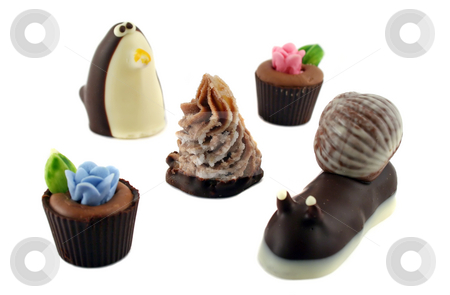 Handmade Chocolates stock photo, Selection of delightful handmade chocolates and fudges. by Brett Mulcahy