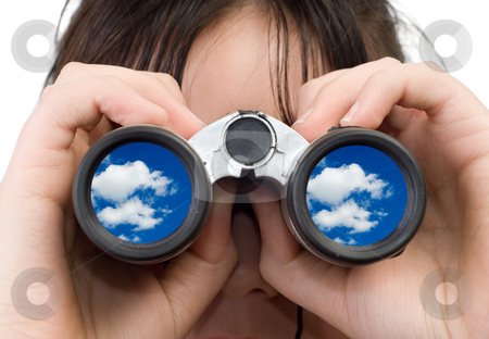 Girl Watching Clouds stock photo, A young girl watching some clouds with a set of binoculars by Richard Nelson