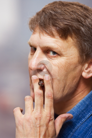 Smoking man stock photo, Mature man with cigar by Mikhail Lavrenov
