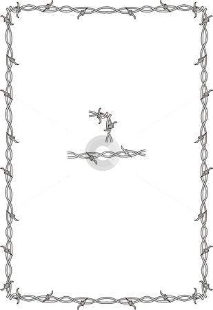 Barbed Wire Border stock vector clipart, Simple barbed wire background, can be made to any size, just attach the corner and the straight ones to your requirement by Fowzan Ahmed