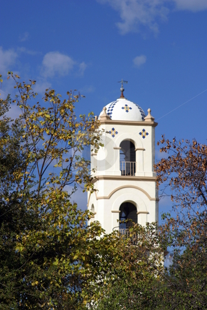 Ojai Tower stock photo, The Ojai post office tower with a nice blue sky by Henrik Lehnerer
