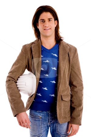Front view of young man with hardhat stock photo, Front view of young man with hardhat on an isolated white background by Imagery Majestic