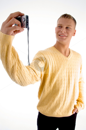 Standing male with camera stock photo, Standing male with camera on an isolated white background by Imagery Majestic