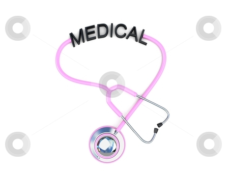 Pink stethoscope with medical text stock photo, 3d pink stethoscope with medical text with an isolated background by Imagery Majestic