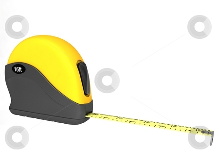 Measuring tape stock photo, Three dimensional measuring tape on an isolated white background by Imagery Majestic