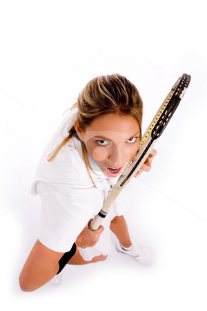 Top view of tennis player stock photo, Top view of tennis player on an isolated white background by Imagery Majestic