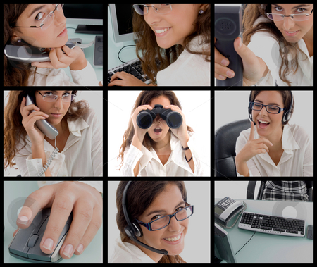 Photomontage of working woman stock photo, Different poses of young working woman by Imagery Majestic