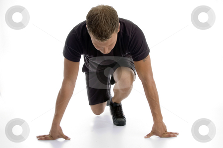 Man doing push ups stock photo, Man doing push ups against white background by Imagery Majestic