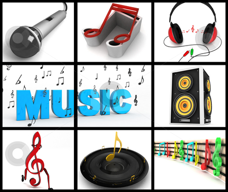 Photomontage of musical equipments stock photo, Photomontage of three dimensional musical equipments on square background by Imagery Majestic