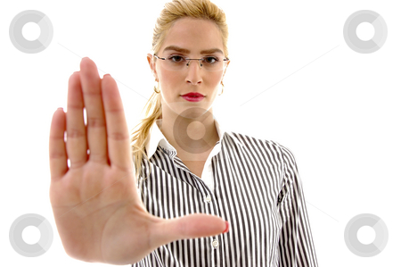 Front view of female asking to stop stock photo, Front view of female asking to stop on an isolated white background by Imagery Majestic