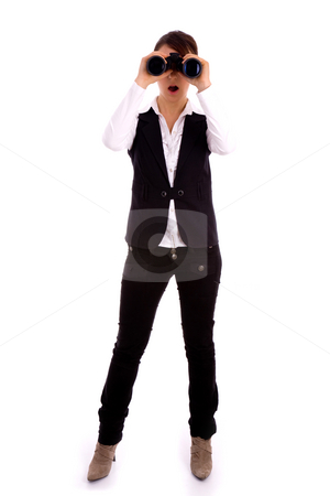 Full body pose of professional looking through binoculars stock photo, Full body pose of professional looking through binoculars against white background by Imagery Majestic