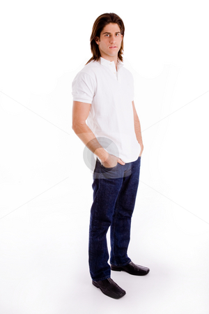 Side view of man standing smiling stock photo, Side view of standing model on an isolated background by Imagery Majestic