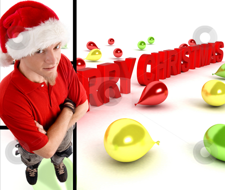 Man wearing christmas hat with merry christmas text stock photo, Man wearing christmas hat with three dimensional merry christmas text by Imagery Majestic