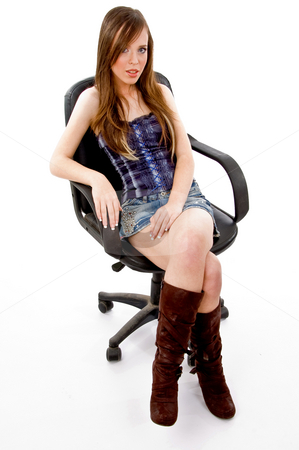 Top view of young sitting female stock photo, Top view of young sitting female on an isolated white background by Imagery Majestic
