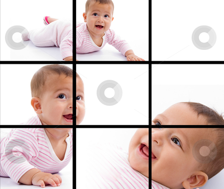 Photomontage of young adorable baby smiling stock photo, Photomontage of young adorable baby smiling by Imagery Majestic