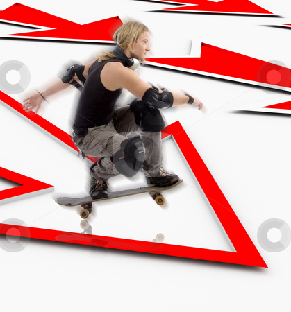 Man with skateboard jumping over arrow stock photo, Man with skateboard jumping over three dimensional arrow by Imagery Majestic