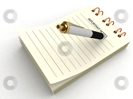 Pen writing on notepad stock photo, 3d pen writing on notepad on an isolated background by Imagery Majestic