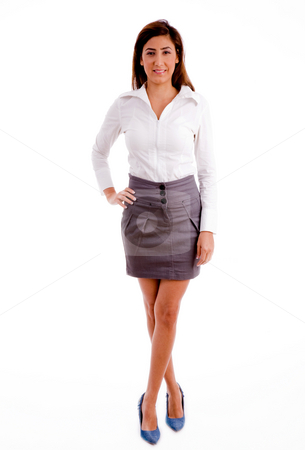 Front view of professional looking at camera stock photo, Front view of professional looking at camera against white background by Imagery Majestic