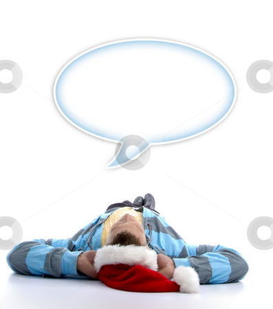 Man with christmas hat watching speech bubble stock photo, Man with christmas hat watching speech bubble against white background by Imagery Majestic