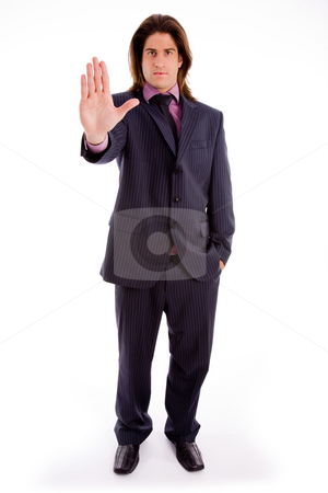 Front view of executive asking to stop stock photo, Front view of executive asking to stop on an isolated background by Imagery Majestic