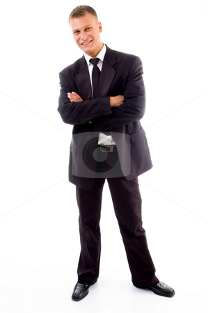 Young accountant posing in style stock photo, Young accountant posing in style on an isolated white background by Imagery Majestic