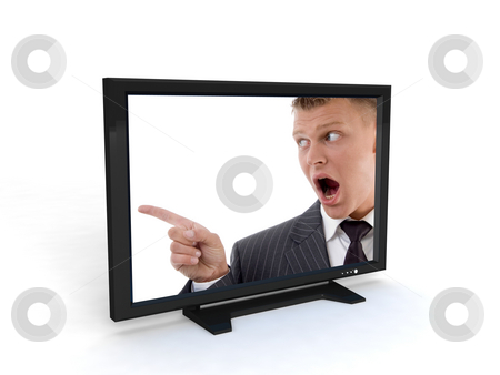 Shouting man in television stock photo, Shouting man in television on an isolated background by Imagery Majestic