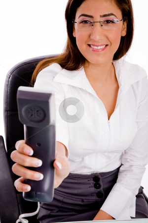 Front view of young executive offering call stock photo, Front view of young executive offering call with white background by Imagery Majestic