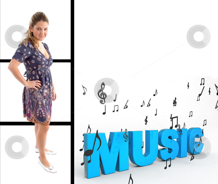 Pretty woman standing with music text stock photo, Pretty woman standing with three dimensional music text by Imagery Majestic