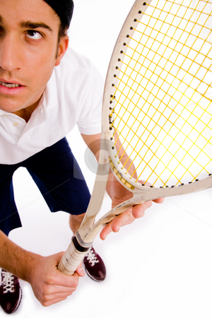 Top view of tennis player with racket stock photo, Top view of tennis player with racket on an isolated white background by Imagery Majestic