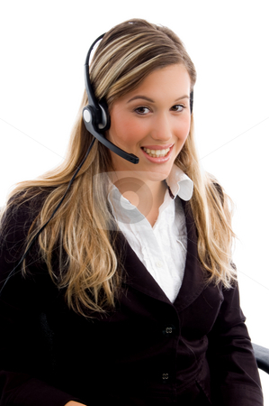 Young customer service providing friendly service stock photo, Young customer service providing friendly service on an isolated white background by Imagery Majestic