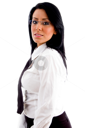 Young accountant looking at camera stock photo, Young accountant looking at camera with white background by Imagery Majestic
